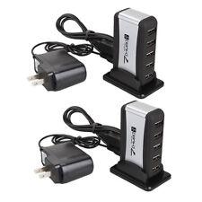 Lot 2pcs 7 Port Hi-Speed USB 2.0 Hub +Power Adapter US Plug for PC Laptop Sliver