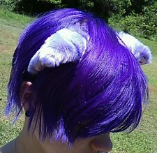 USA Seller Custom Cosplay Cat Fox Purple Long Fur Ears Neko Costume Headband