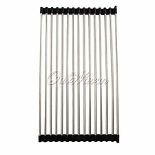 Black Sink Rack Roll Stainless Steel Silicon Handy Portable Folding Drain Rack