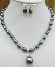 Teardrop Dark Gray Akoya Cultured Shell Pearl Necklace Earring & 16mm Pendant AA