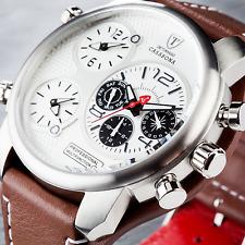 DETOMASO CASABONA Mens XXL Reloj Multifunción 57mm Nuevo Cuero Marrón Acero S -