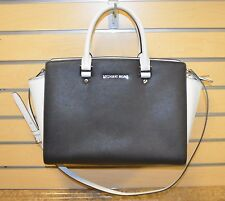 *Michael Kors Black & White Saffiano Leather Selma Tote Bag Purse Free Shipping