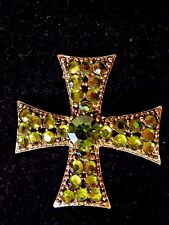 Signed Weiss Vintage Green Peridot Rhinestone Gold Tone Cross Brooch Pin RARE