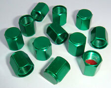 FREE SHIPPING 12PCS. GREEN ALUMINUM TIRE TYRE AIR DUST VALVE STEM HEX CAPS.