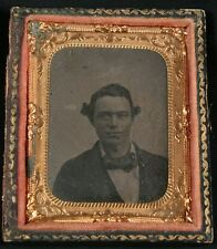 ANTIQUE TINTYPE PORTRAIT MAN WITH WAVY HAIR, TINTED CHEEKS. 1/9 PLATE, FULL CASE