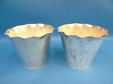 Vintage Pair Hand Hammered Metal Solid Copper Silverplate Artistic Ice Buckets