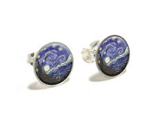 Starry Night by Vincent Van Gogh - Novelty Silver Plated Stud Earrings