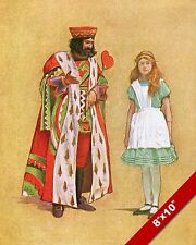 ALICE IN WONDERLAND WITH KING OF HEARTS LEWIS CARROL CANVAS PAINTING ART PRINT