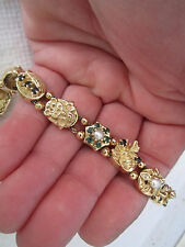 Vintage 14K Yellow Gold 13 Slide Charm Bracelet Very Heavy 37.72 gm 8 in.Reduced