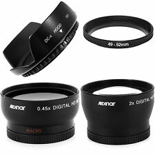 Wide angle .45X + Macro + 2X Telephoto lens kit + hood for Sony DSC-RX1R DSC-RX1