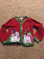 Kobe Girl Red Green Present Christmas Snowman Cardigan Sweater Size 4