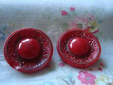 2 Large Vintage Red Glass Buttons - painted decoration