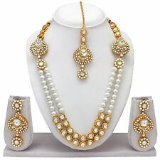 Indian Bollywood Fashion Bridal Gold Plated Pearl Necklace Earrings Jewelry Set