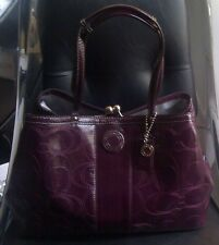 Coach Signature Stitched Patent Leather Kisslock Frame Bag Purse F19215 Plum