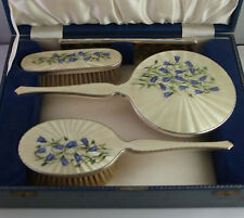 Beautiful Solid Silver & Guilloche Enamel Dressing Table Set - Birm. 1959