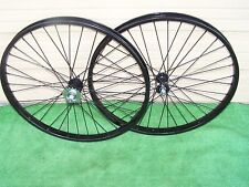 PAIR BLACK 26 x 2.125 BIKE  STEEL WHEELS  HEAVY DUTY COASTER BRAKE REAR 36 12ga
