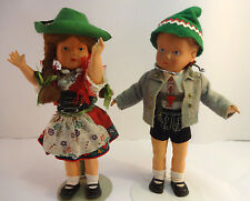 "Vintage 10"" ZWILLING-FOX Trachten Puppen Costume Celluloid Dolls Boy & Girl Tag"