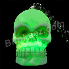 HALLOWEEN LED SKELETON SKULL COLOR CHANGING FACE BEADED NECKLACE - SALE!