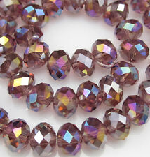 NEW Faceted 30pcs Rondelle glass crystal #5040 6x8mm Beads light purple AB F8Q31