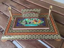 Fine Old Persian Writing Letter Set Original Painting Marquetry Inlaid Khatam