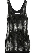 DIANE VON FURSTENBERG Fran Sequin Embellished Jersey Black Tank Top Sz Medium