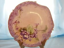 Limoges Purple and Floral Design Plate Marked Elite S M Limoges France