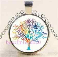 Watercolor Tree Of Life Cabochon Glass Tibet Silver Chain Pendant  Necklace