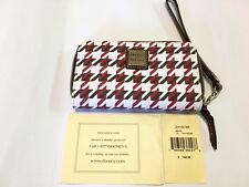Dooney & Burke Houndstooth Zip Around Phone Wristlet