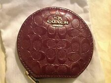 COACH SIGNATURE BURGANDY COIN CASE PATENT LEATHER NICE F54840 NWT $75 w/DUST BAG