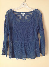 Express XS Extra Small Blue Ornate Floral Lace Top Shirt