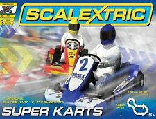 C1334 Scalextric Super Karts Race Set, Lap Counter, Red & Blue Karts New & Boxed