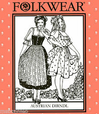 Folkwear Austrian Dirndl Dress, Blouse & Apron  Sewing Pattern 123 German/Swiss