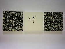 3 BLACK CREAM AND GREEN LEOPARD ANIMAL PRINT WALL HANGINGS WITH FAUX SUEDE CLOCK