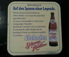 Österreichischer Bierdeckel Hofbräu Kaltenhausen - Edelweiss Schnee Radler