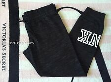 Victoria's Secret Pink Dark Gray/Black Marl White Scrunchy Waist Gym Pants - L