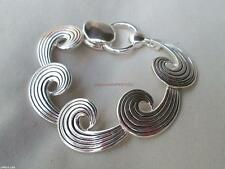 Pretty Silver Ocean Wave Beach Sea Tide Link Bracelet Magnetic Close Unique