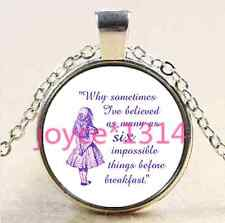 Alice in Wonderland Cabochon silver Glass Chain Pendant Necklace  #2257