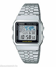 Casio RETRO SILVER World Time map Digital  Steel Watch SUPER VINTAGE COOL MONTRE