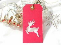 10 Large RED  Reindeer Christmas Gift Tags Vintage Style Winter Wedding