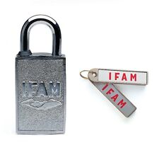 MAGNETIC PADLOCK. EASY TO USE FOR YOUNG AND OLD. NO KEYWAY. MAGNETIC KEY FOB.