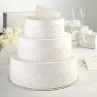 New wedding table centrepiece white vintage lace 3 tier cake card post box