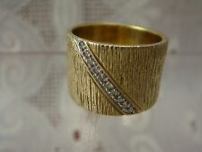 EXCEPTIONAL DESIGNER STERLING SILVER 925 GOLD DIAMOND SIZE 6.5 WIDE BAND RING