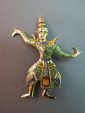 VTG Siam Sterling Silver Brooch Multi Color Enamel Figural Dancer Niello Vermeil