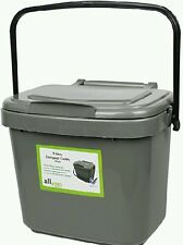 7L Kitchen Compost Bin Caddy ALL GREEN Food Waste Re-cycling Silver GREY Handle