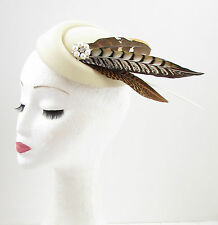 Cream Brown Ivory Pheasant Feather Pillbox Hat Fascinator Hair Clip Vtg 40s 603
