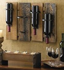 Rustic Wall Mount Wine  Bottle Glass Holder Wood Bar Decorative Cabinet Decor