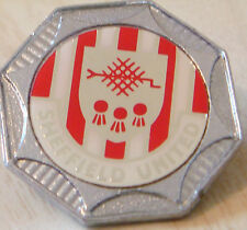 SHEFFIELD UNITED Vintage 70s 80s insert type Badge Brooch pin Chrome 30mm x 30mm