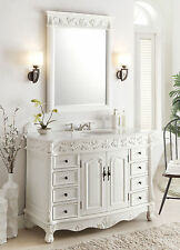 "48"" Antique White Florence bathroom sink vanity w/ mirror Model BC-036W-AW-48"