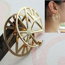 Fashion Women's Jewelry Hollow Round Geometric Gold Stud Pierced Earrings