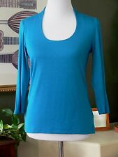 Soft Surroundings Blue Jersey Stretch Knit 3/4 Sleeve Top XS
